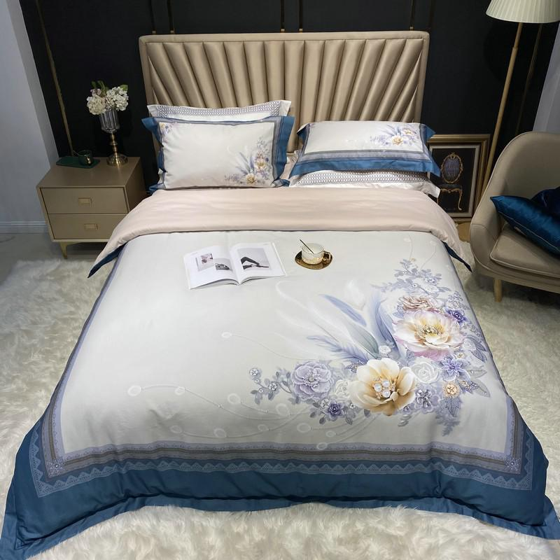 Jennifer Vintage Bouquet Printed Egyptian Cotton Duvet Cover Set - Venetto DesignColor 10 / Queen size 4Pcs