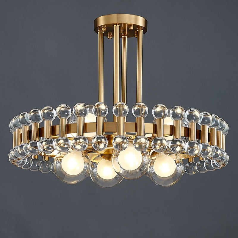 Bailey Colorful Gem And Crystal Two Tier Round Chandelier - Venetto DesignRound crystal / Dia45xH20cm / Warm white light