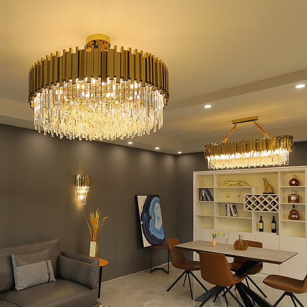 Adorjan Diagonal Cut-Crystal And Metal Chandelier - Venetto Design