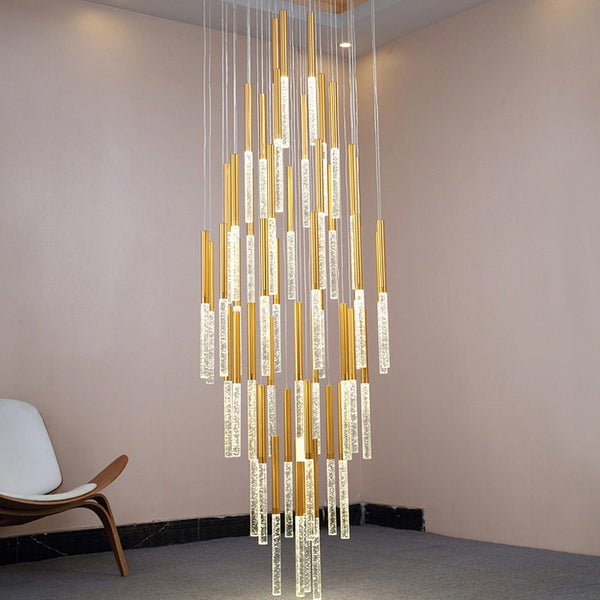 Mya Linear Copper And Crystal Strand Chandelier - Venetto Design