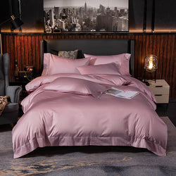 Lakibia Silky Soft Egyptian Cotton Bedding Set - Venetto DesignSoft Pink / Fitted Bed Sheet / King size 4Pcs
