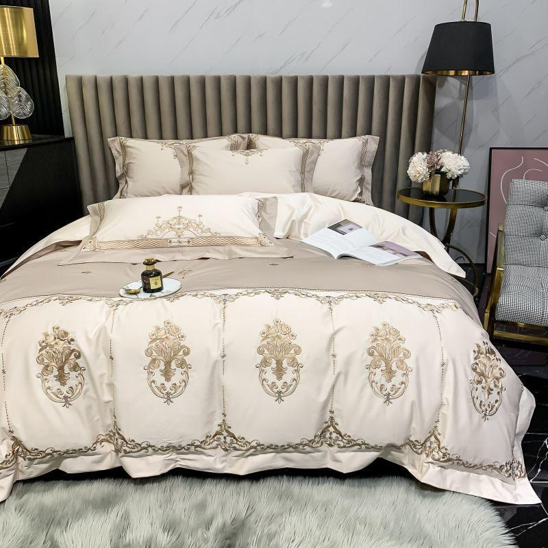 Shayla Color-Blocked Embroidered Motif Cotton Duvet Cover Set - Venetto DesignColor 4 / Flat Bed Sheet / Queen size 4Pcs