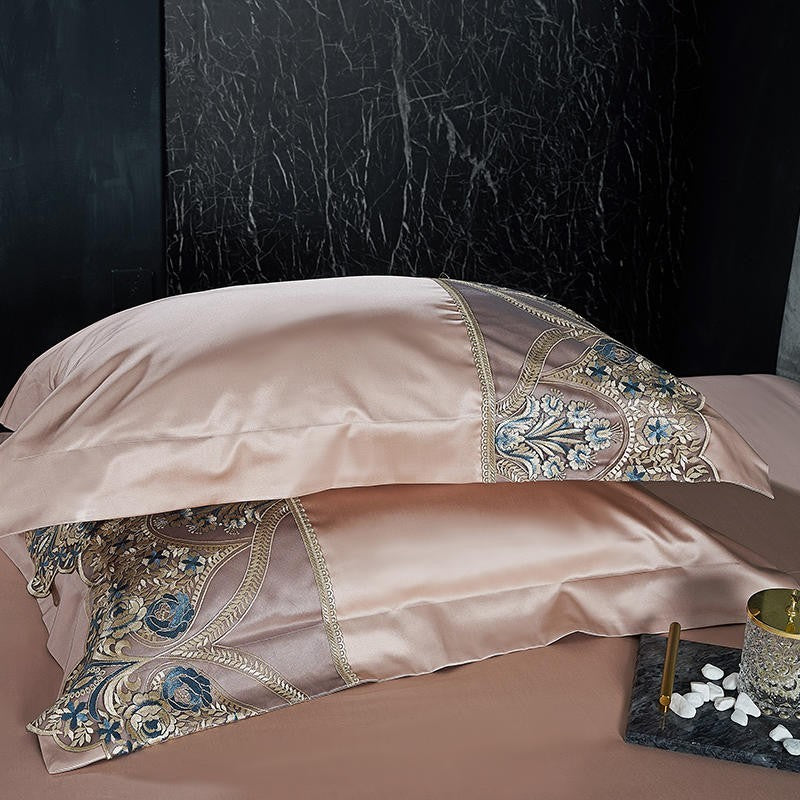 Marisol Embroidered Lace Border Satin Duvet Cover Set - Venetto Design