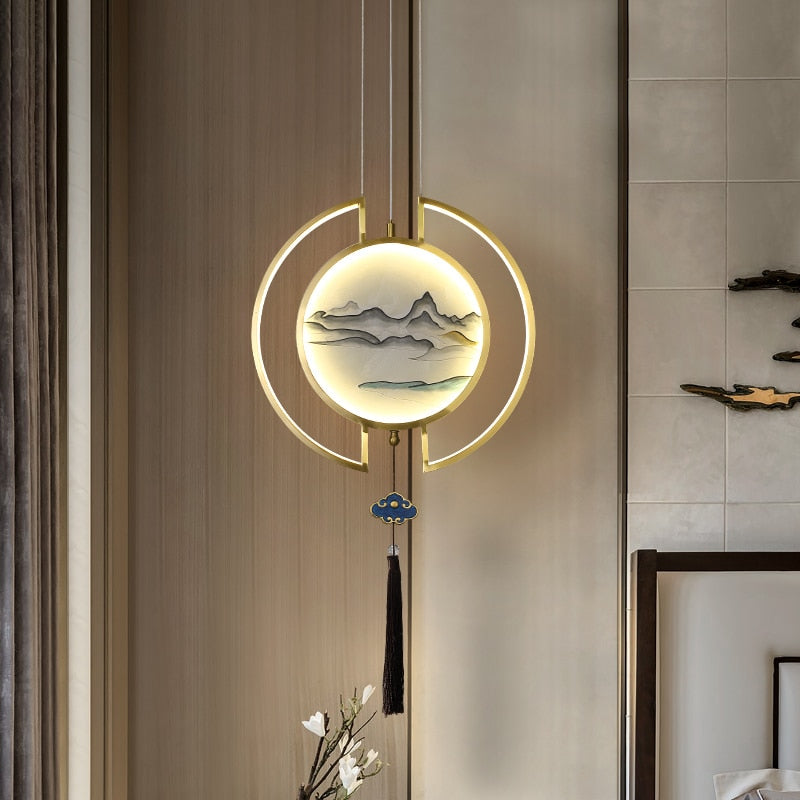Paige Modern Enamel Work And Tassel Disc Chandelier - Venetto Design