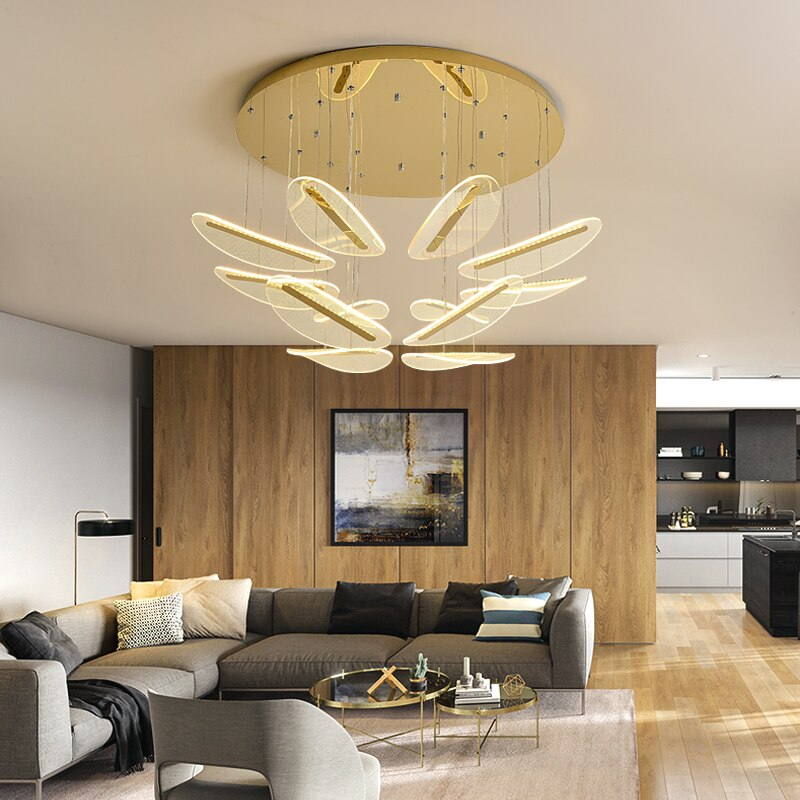 Valeria Floating Petal Shape Iron And Acrylic Chandelier - Venetto Design