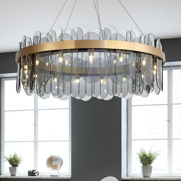 Patina Gold Ring Chandelier - Venetto DesignRound Gray Glass shade / Dia40cm H30cm / Warm light