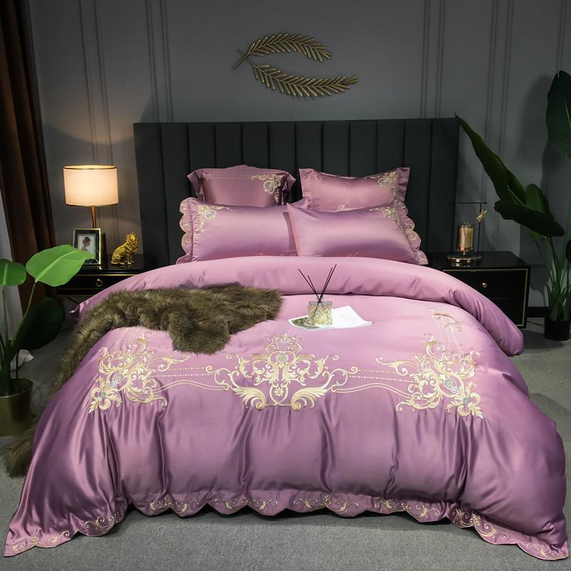 Ryleigh Embroidered Scalloped Edge Cotton Duvet Cover Set - Venetto DesignColor 2 / Flat Bed Sheet / Queen size 4Pcs