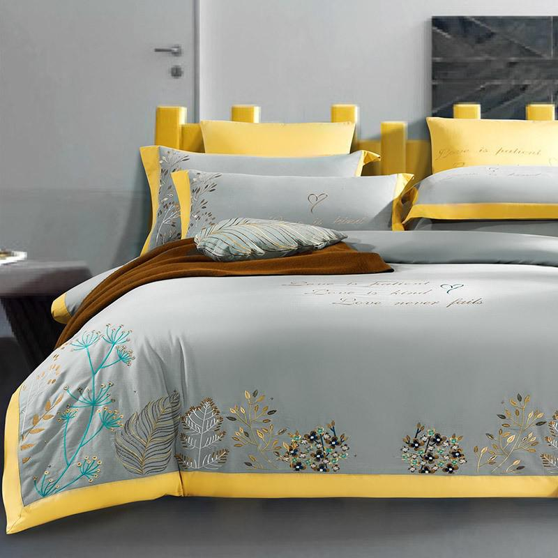 Taylor Floral Embroidered Border Egyptian Cotton Duvet Cover Set - Venetto DesignColor 6 / Flat Bed Sheet / Queen size 4Pcs