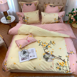 Violet Two-Tone Chinoiserie Embroidered Egyptian Cotton Duvet Cover Set - Venetto Design