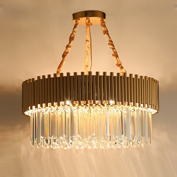 Rylee Gold Edged Beveled Crystal And Copper Ring Chandelier - Venetto Design