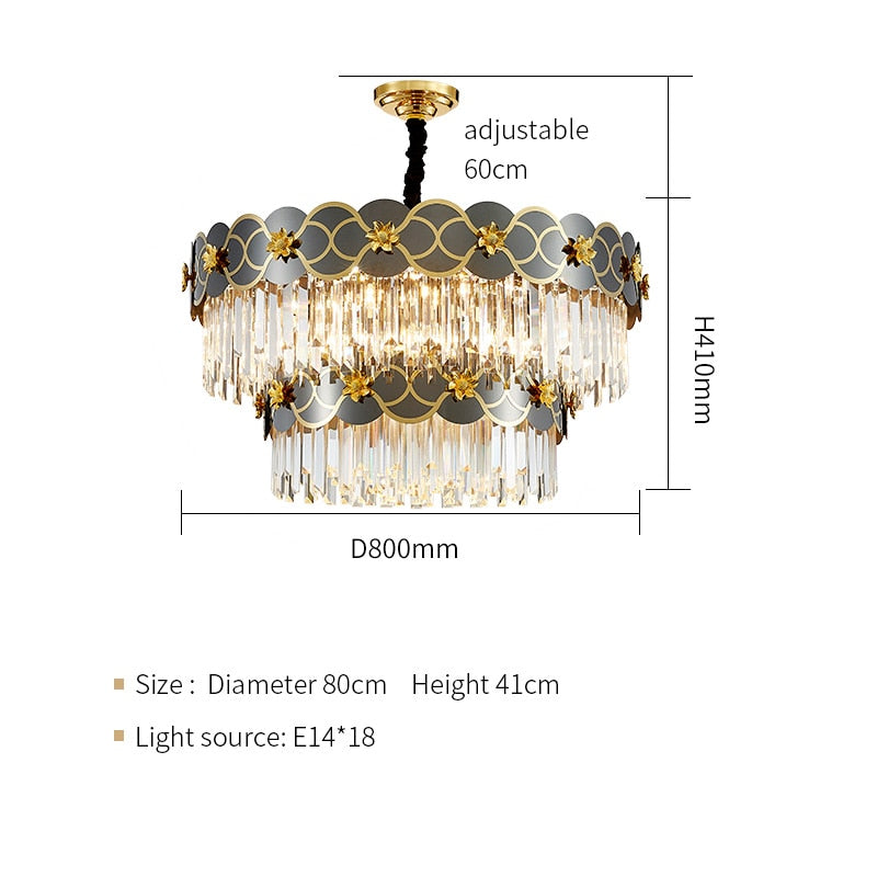 Pietro 3D-Floral Scalloped Edge Two-Tier Crystal Chandelier - Venetto DesignDia80cm H41cm / Warm light