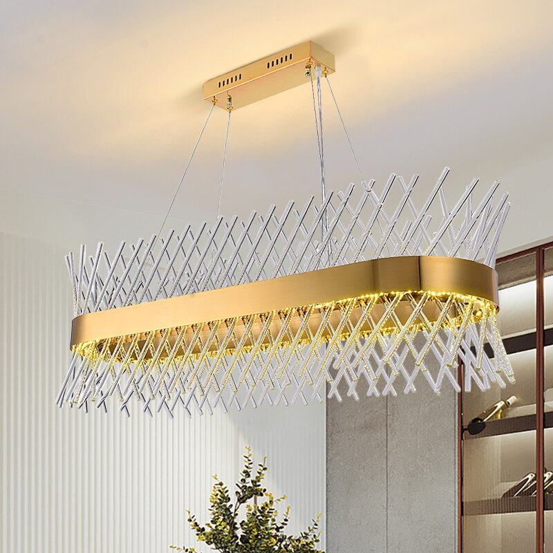 Madelyn Criss Cross Linear Crystal Rounded Bar Chandelier - Venetto Design