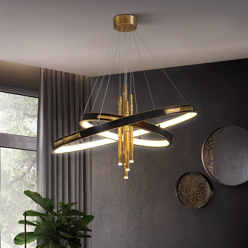 London Two-Tier Modern Rounded Metal Chandelier - Venetto Design