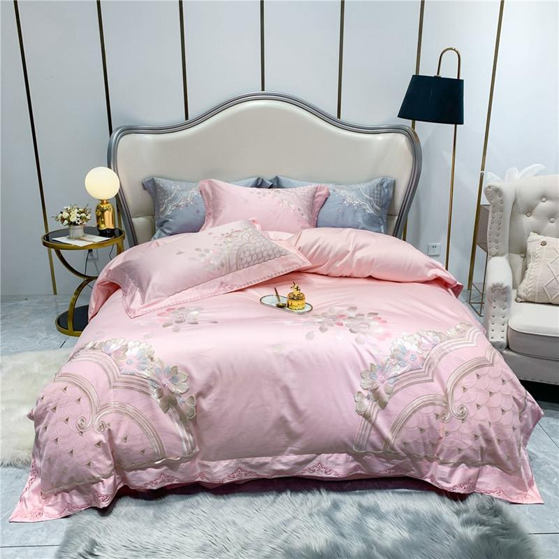 Dulce Swirl And Rose Embroidered Egyptian Cotton Duvet Cover Set - Venetto DesignColor 3 / Queen size 4Pcs