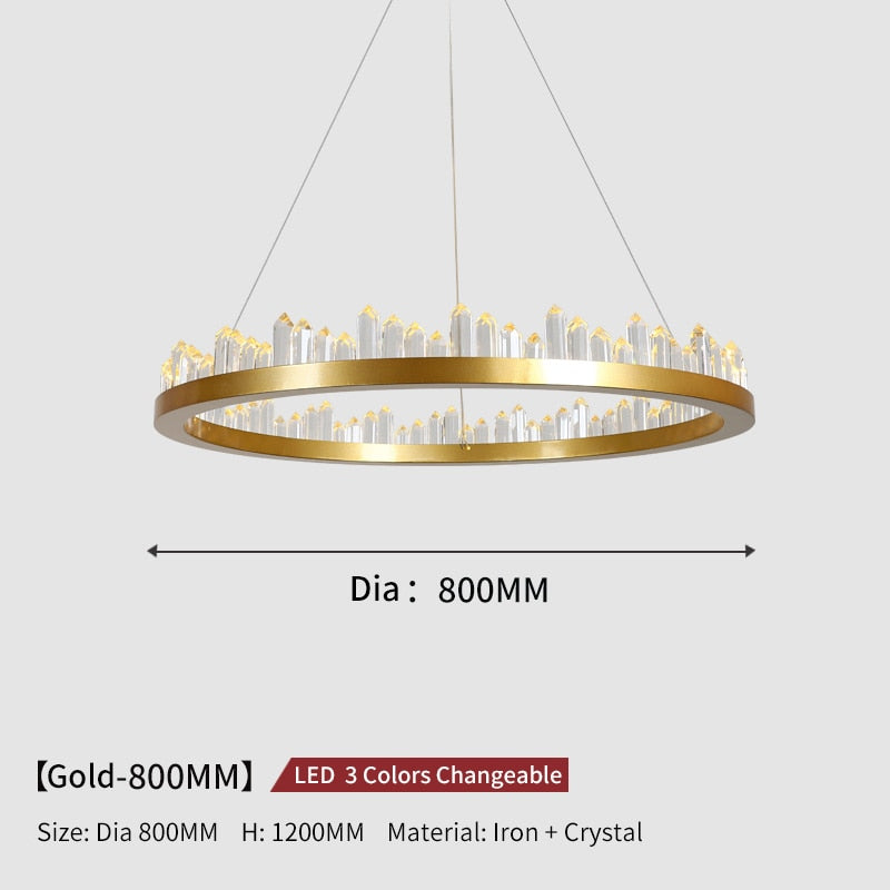 Giovanni 3D-Crystal Edge Metal Ring Chandelier - Venetto DesignDia80cm-Gold / 3 Colors Changeable