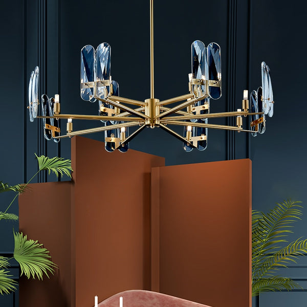 Isak Modern Rounded Metal And Crystal Chandelier - Venetto Design