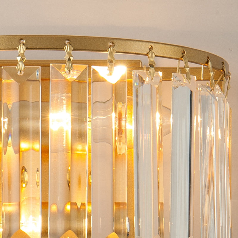 Isabella Beveled Crystal Half-Drum Wall Lamp - Venetto Design
