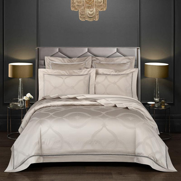 Avida Egyptian Cotton Vintage Jacquard Duvet Cover set - Venetto DesignColor 1 / Fitted Bed Sheet / King size 4Pcs