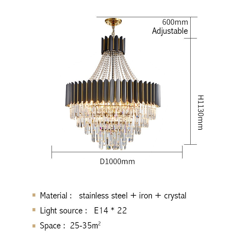 Logan Modern Stainless Steel Tiered Crystal Chandelier - Venetto DesignDia100cm H113cm / Warm light