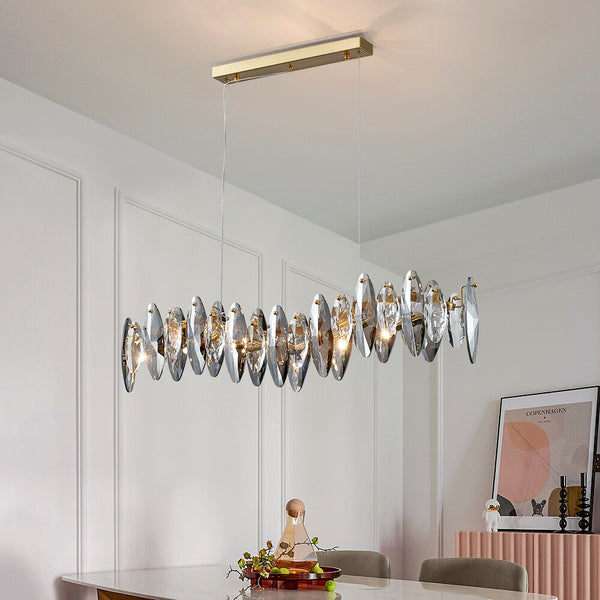 Zoey Oval Cut Smokey Crystal And Copper Bar Chandelier - Venetto Design