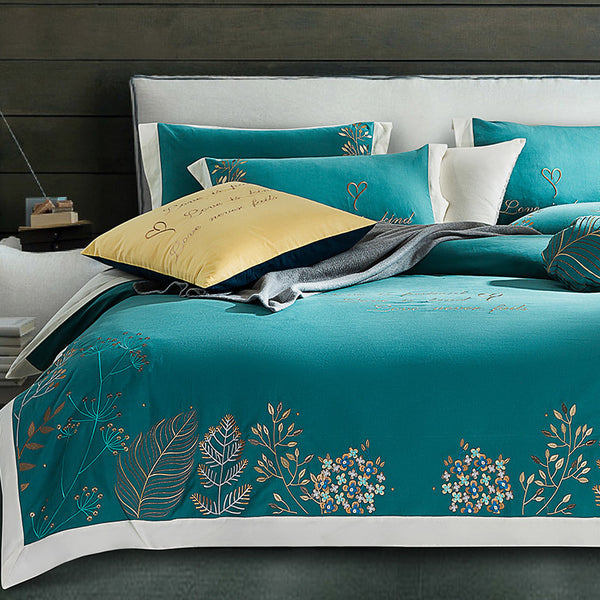 Naira Brushed Cotton Embroidery Premium Duvet Cover Set - Venetto DesignColor 3 / King size 4Pieces