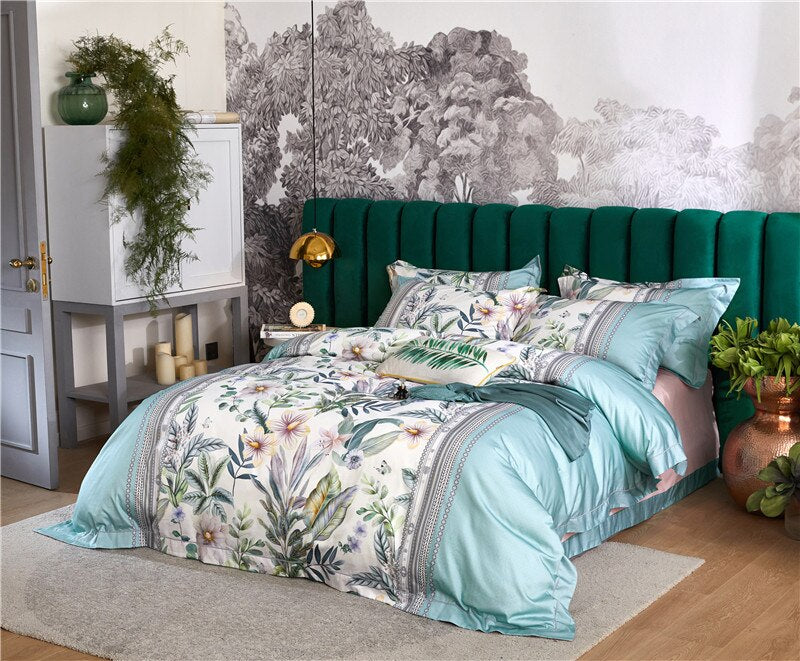Treviza Botanical Egyptian Cotton Luxury Soft Duvet Cover Set - Venetto Design