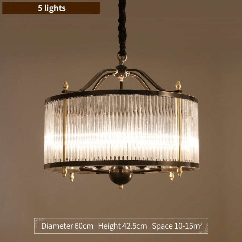 Lillian Fluted Glass And Metal Drum Chandelier - Venetto DesignDia 60cm / Cold light