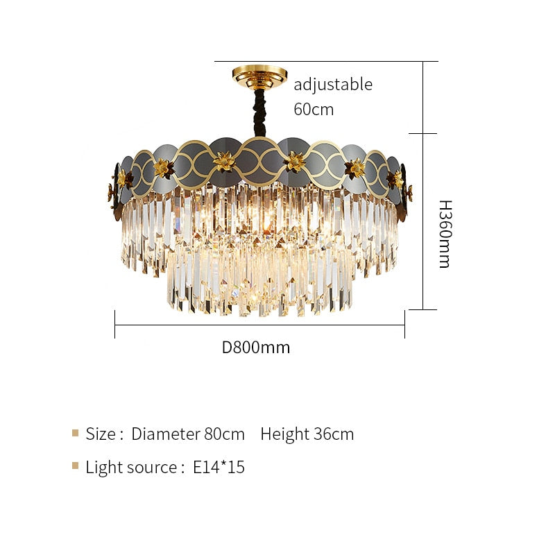 Pietro 3D-Floral Scalloped Edge Two-Tier Crystal Chandelier - Venetto DesignDia80cm H36cm / Warm light