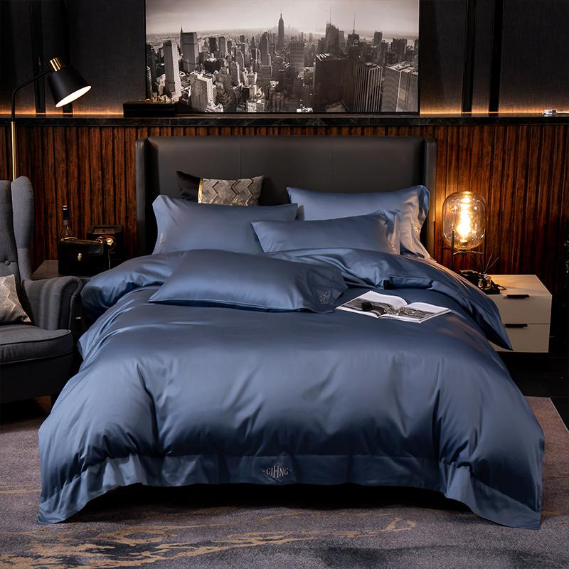 Lakibia Silky Soft Egyptian Cotton Bedding Set - Venetto DesignNavy Blue / Fitted Bed Sheet / King size 4Pcs
