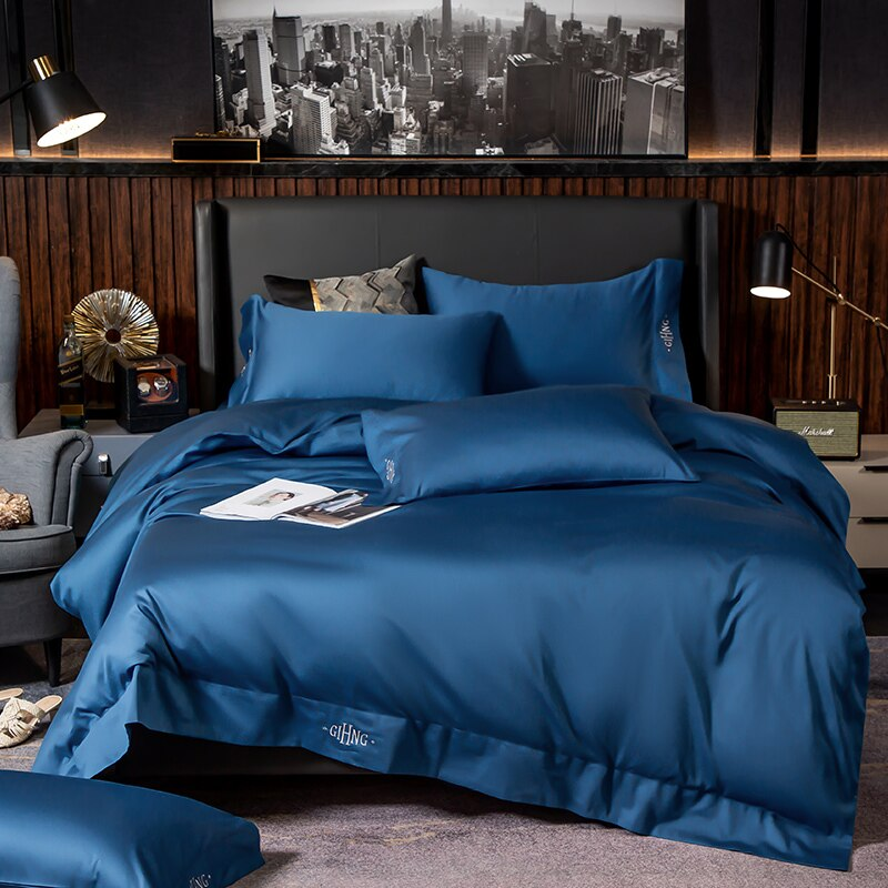Lakibia Silky Soft Egyptian Cotton Bedding Set - Venetto DesignRoyal Blue / Fitted Bed Sheet / King size 4Pcs