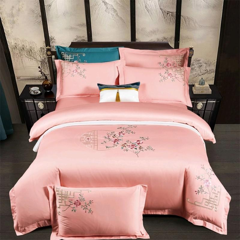 Priscilla Floral Embroidered Egyptian Cotton Duvet Cover Set - Venetto DesignColor 4 / Flat Bed Sheet / Queen size 4Pcs