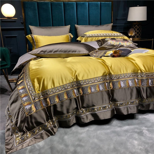 Hadi Embroidered Border Satin Duvet Cover Set - Venetto Design