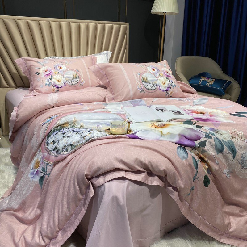 Jennifer Vintage Bouquet Printed Egyptian Cotton Duvet Cover Set - Venetto Design