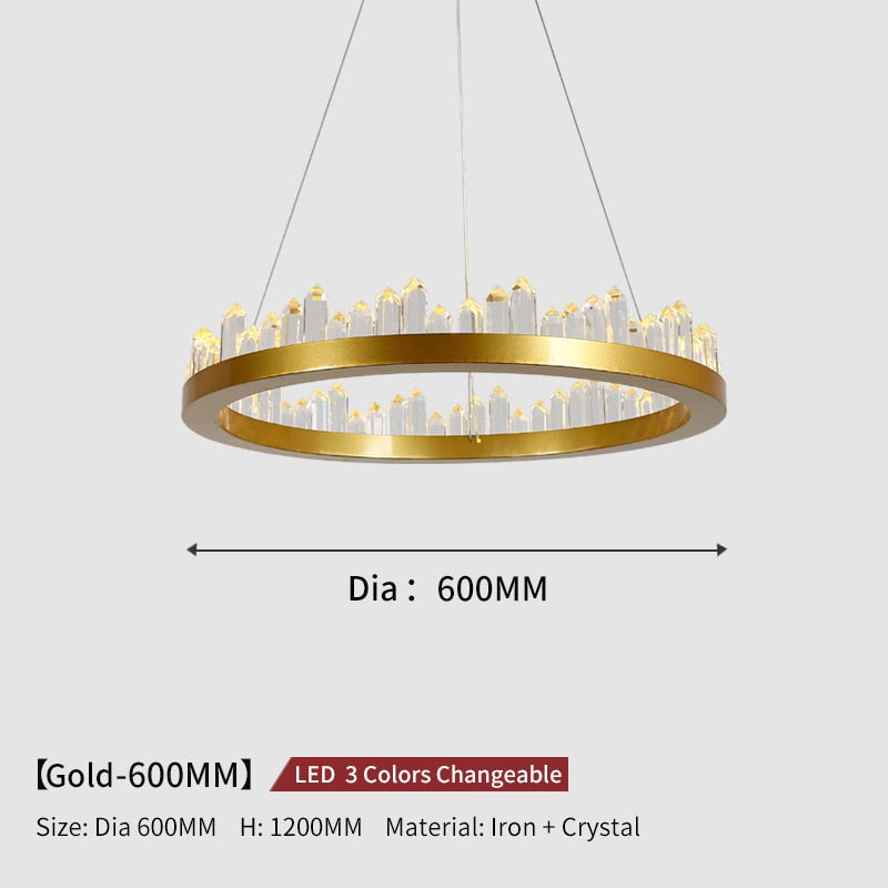 Giovanni 3D-Crystal Edge Metal Ring Chandelier - Venetto DesignDia60cm-Gold / 3 Colors Changeable