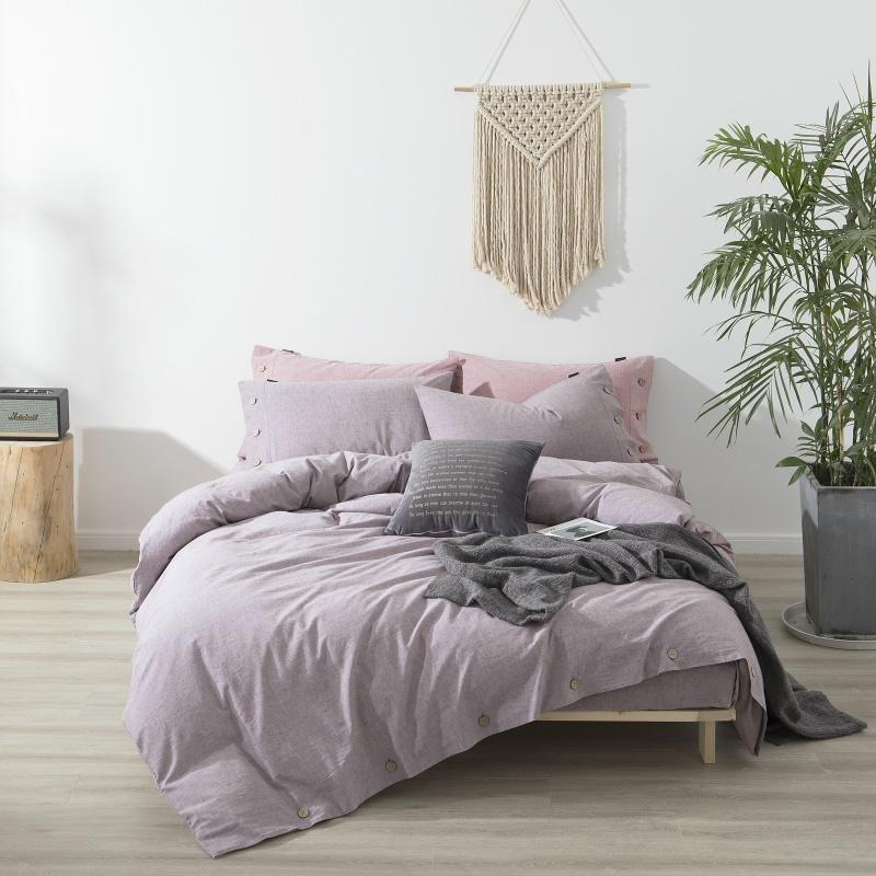Selena Button Detailed Linen And Cotton Duvet Cover Set - Venetto Designcolor 4 / Queen size 4pcs