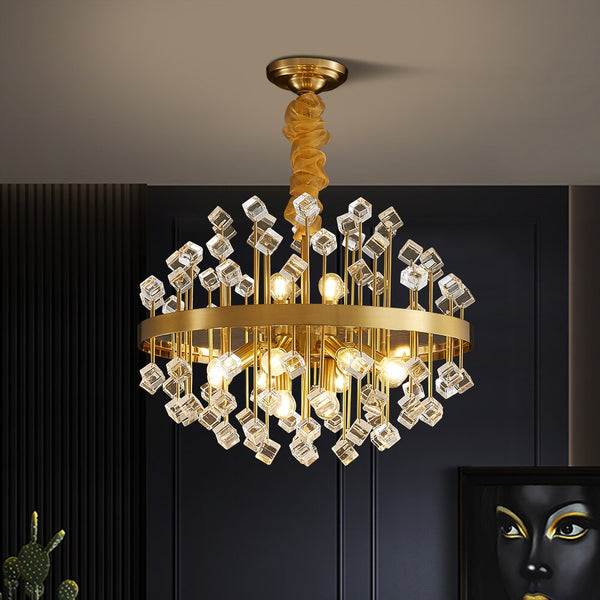 Keira Assorted Layered Gem And Copper Chandelier - Venetto Design