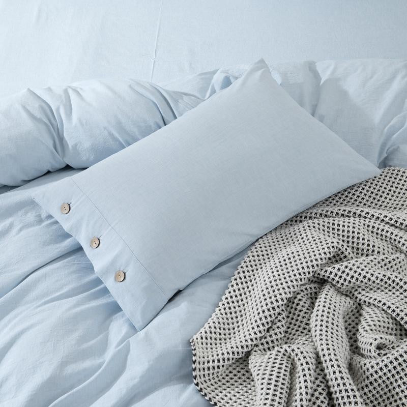 Selena Button Detailed Linen And Cotton Duvet Cover Set - Venetto Design