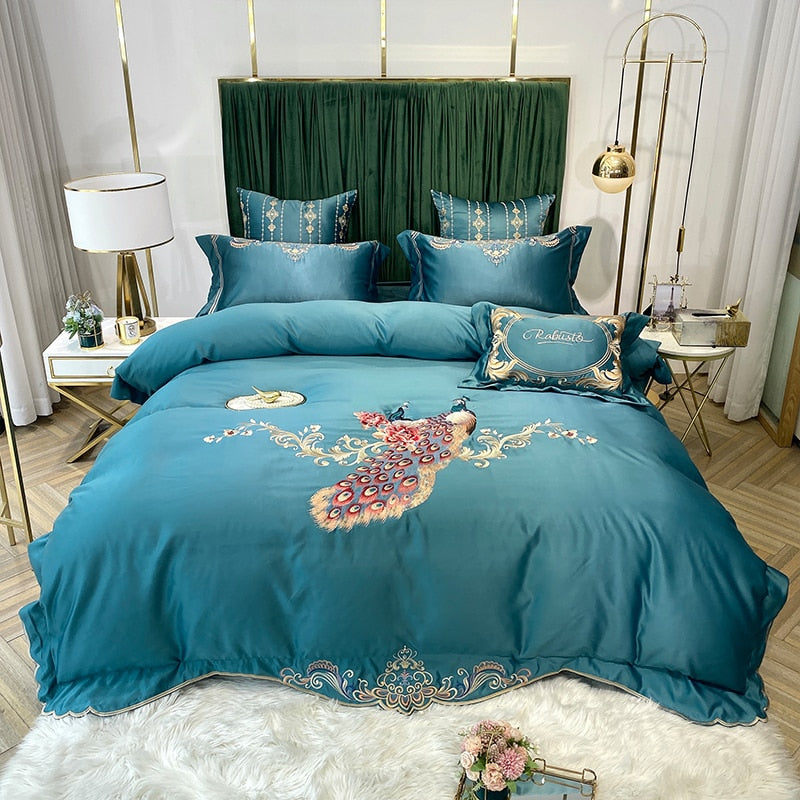 Phoebe Peacock Embroidered Satin And Cotton Duvet Cover Set - Venetto DesignColor 9 / Bed Sheet Style / Queen Size 4pcs