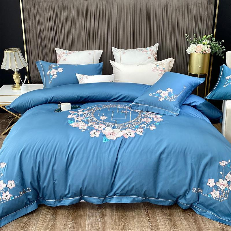 Nina Rounded Floral Motif 100% Egyptian Cotton Duvet Cover Set - Venetto DesignColor 10 / Flat Bed Sheet / Queen size 4Pcs