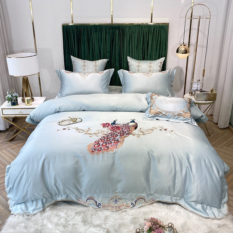 Phoebe Peacock Embroidered Satin And Cotton Duvet Cover Set - Venetto DesignColor 5 / Bed Sheet Style / Queen Size 4pcs
