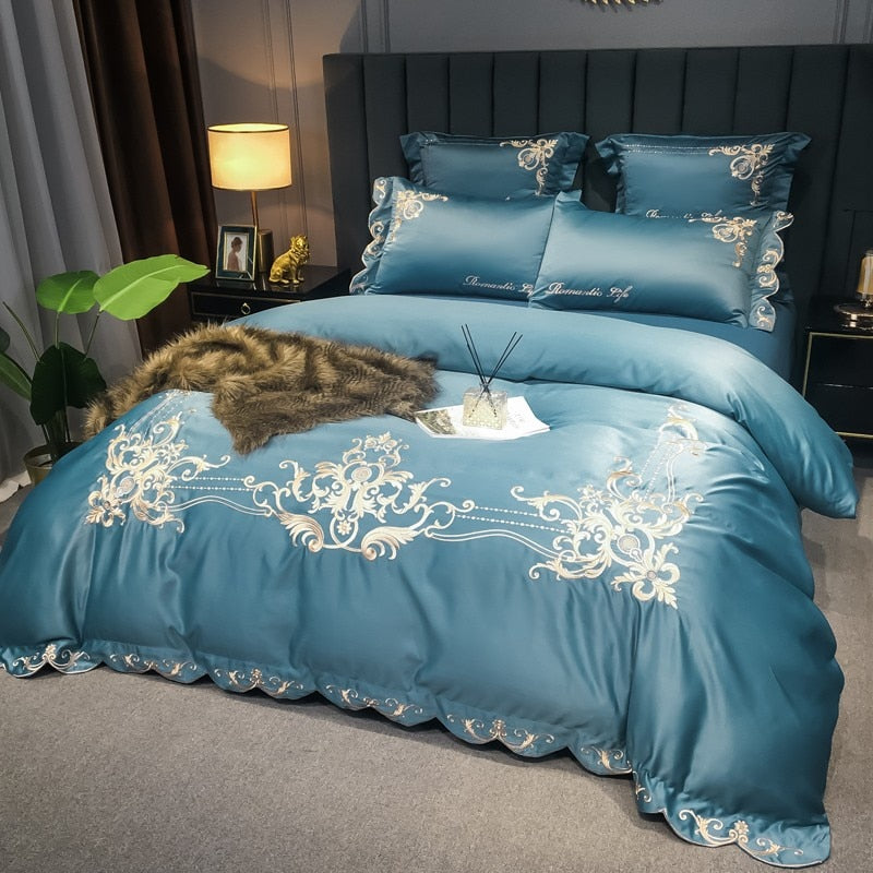 Ryleigh Embroidered Scalloped Edge Cotton Duvet Cover Set - Venetto Design