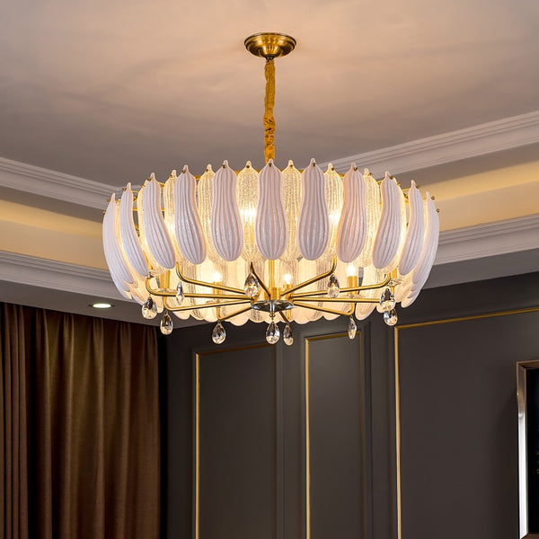 Vanessa Art Deco Translucent Glass And Crystal Ring Chandelier - Venetto Design