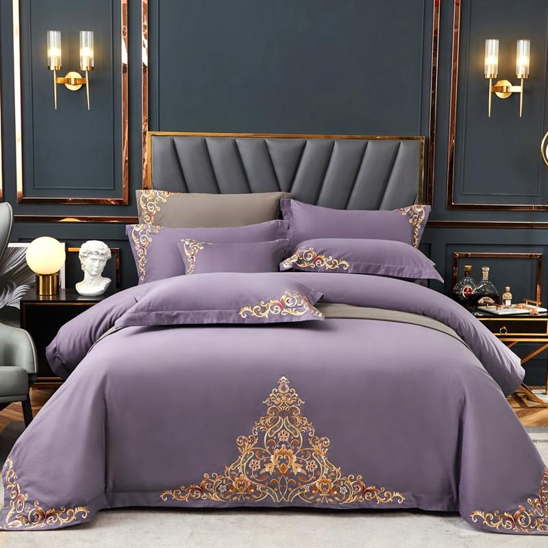 Mariana Centered Embroidered Motif 100% Cotton Duvet Cover Set - Venetto Design1 / Queen size 4Pcs
