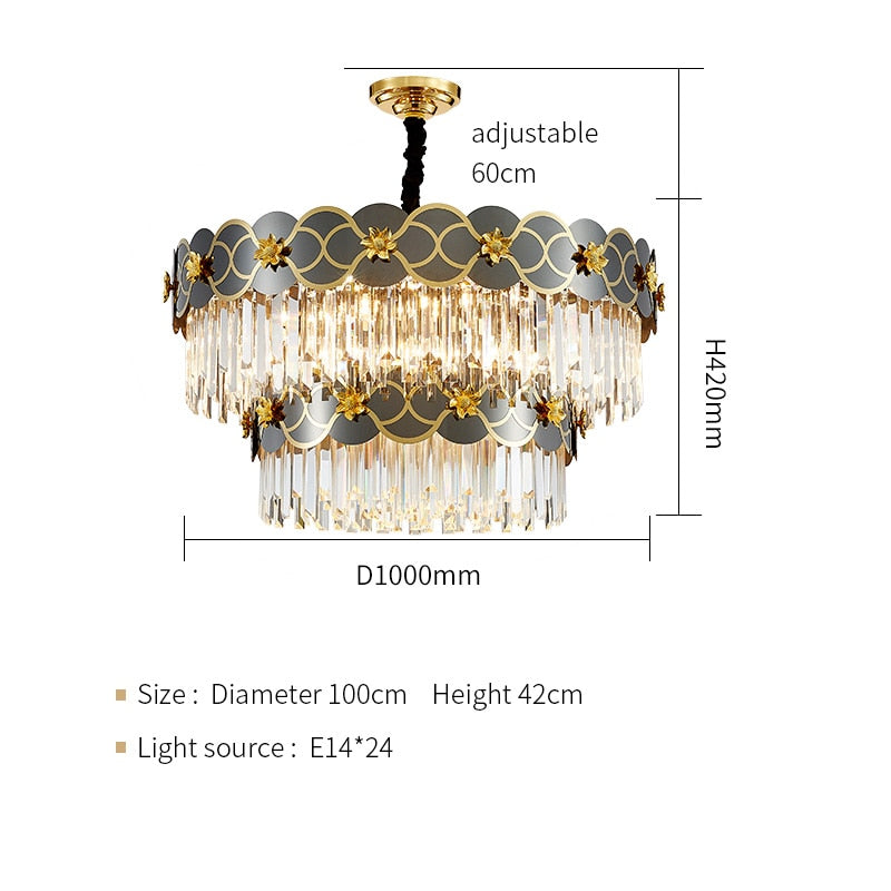 Pietro 3D-Floral Scalloped Edge Two-Tier Crystal Chandelier - Venetto DesignDia100cm H41cm / Warm light