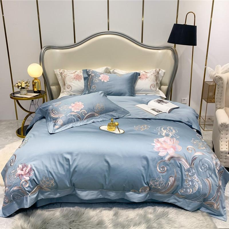 Dulce Swirl And Rose Embroidered Egyptian Cotton Duvet Cover Set - Venetto DesignColor 1 / Queen size 4Pcs