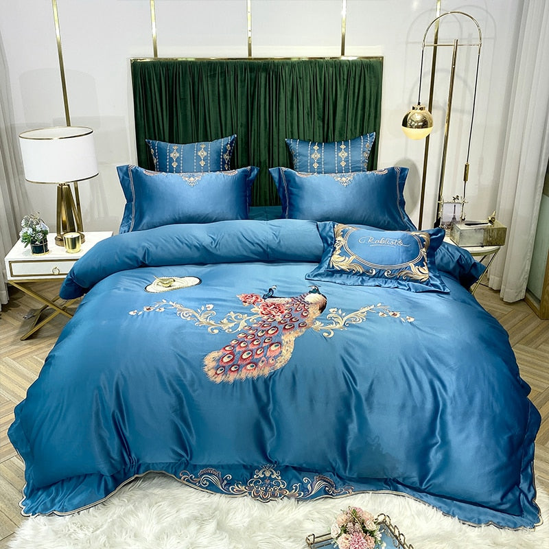 Phoebe Peacock Embroidered Satin And Cotton Duvet Cover Set - Venetto DesignColor 1 / Bed Sheet Style / Queen Size 4pcs
