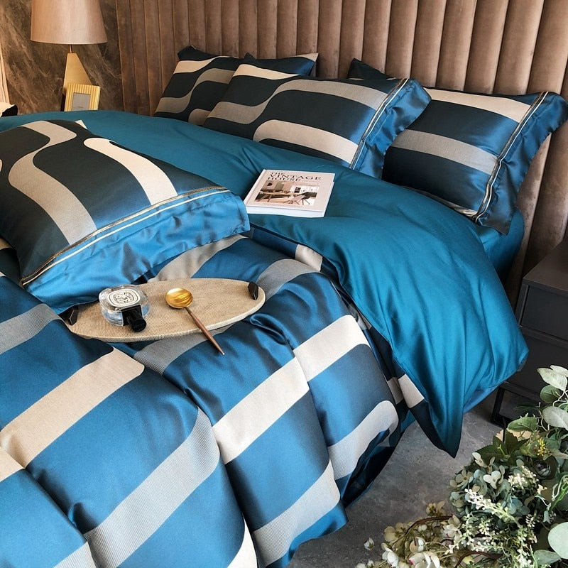 Tatum Two-Tone Vertical Stripe Egyptian Cotton Duvet Cover Set - Venetto Design