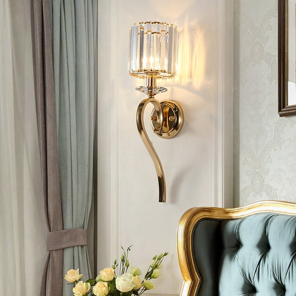 Tara Crystal Shade Hook Bar Wall Lamp - Venetto DesignDia15cm H52cm / Warm White (2700-3500K)