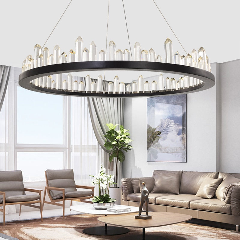 Giovanni 3D-Crystal Edge Metal Ring Chandelier - Venetto Design
