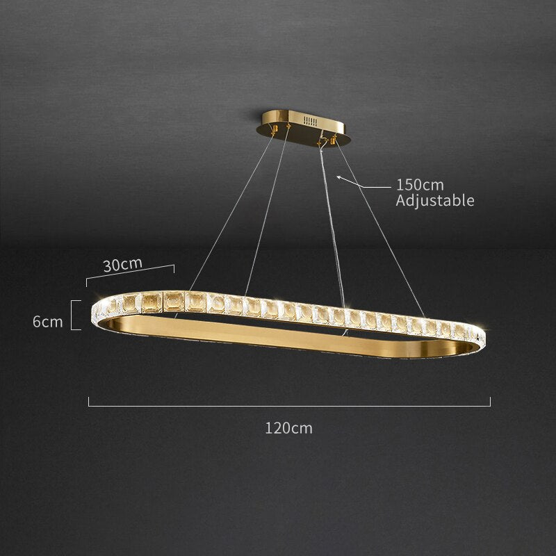 Genesis Wrap-Around Crystal And Metal Rounded Bar Chandelier - Venetto DesignL120cm-B style / Warm light 3000K